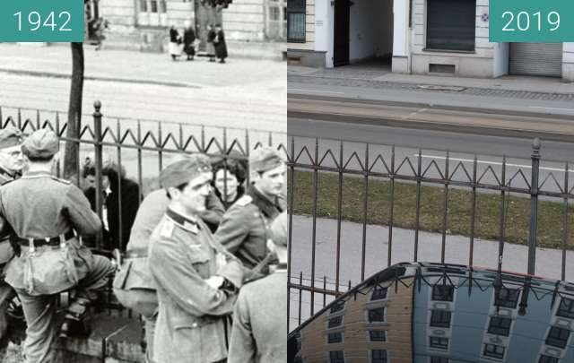 Before-and-after picture of Sophie Scholl in München (2) between 1942-Jul-23 and 2019-Mar-06