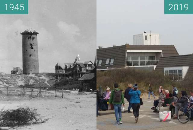Before-and-after picture of Domburg - Niederlande between 1945 and 2019-Apr-16