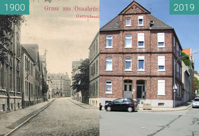 Before-and-after picture of Gertrudenstraße between 1900 and 06/2019
