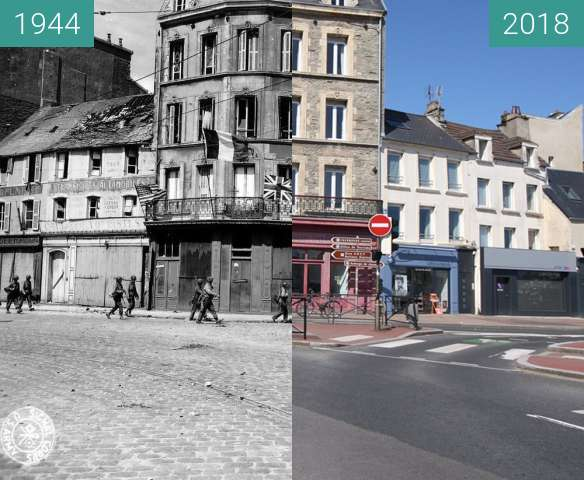 Before-and-after picture of Cherbourg 1944 - Normandy between 06/1944 and 2018-May-04