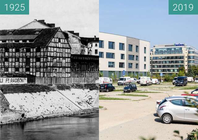 Before-and-after picture of Port rzeczny w starym korycie Warty between 1925 and 2019