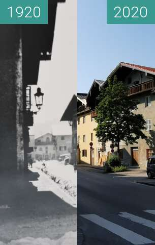 Before-and-after picture of Schützenstraße Traunstein between 1920 and 2020