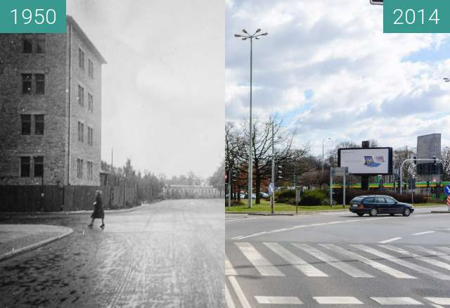 Before-and-after picture of Skrzyżowanie ulicy Niezłomnych i alei Niepodległoś between 1950 and 2014-Aug-12