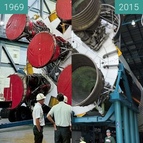 Before-and-after picture of Saturn V between 1969 and 2015-Aug-15