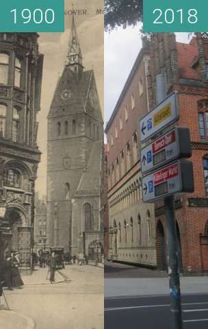 Before-and-after picture of Marktkirche Hannover between 1900 and 2018-Aug-05