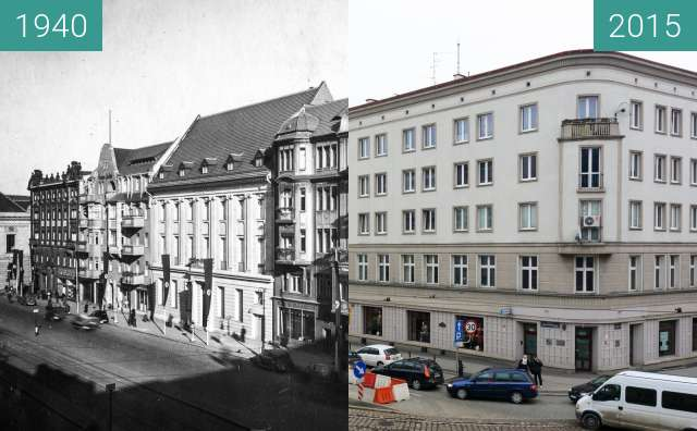 Before-and-after picture of Aleje Marcinkowskiego between 1940 and 2015