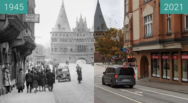 Before-and-after picture of Lübeck, Holstenstraße between 05/1945 and 2021-Sep-24