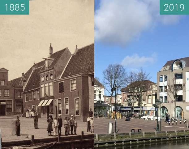 Before-and-after picture of Waagplein / cheese market between 1885 and 2019-Mar-05