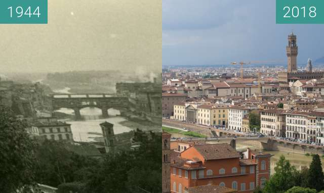 Before-and-after picture of Florence, Italy 1944/2018, Piazzale Michelangelo between 07/1944 and 2018-May-17