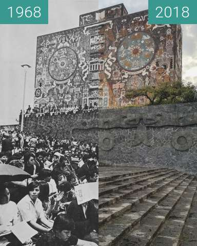 Before-and-after picture of Biblioteca Central UNAM between 1968 and 2018