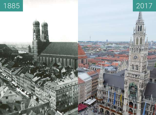 Before-and-after picture of München: Blick vom Alten Peter (2) between 1885 and 2017-Sep-09