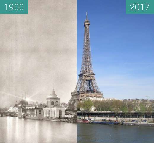 Before-and-after picture of Tour Eiffel/Globe Céleste between 1900 and 2017-Mar-30