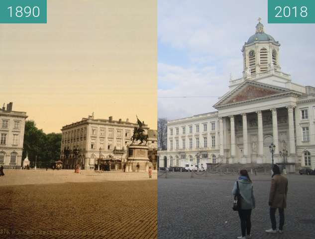 Before-and-after picture of Place Royale between 1890 and 2018-Apr-01