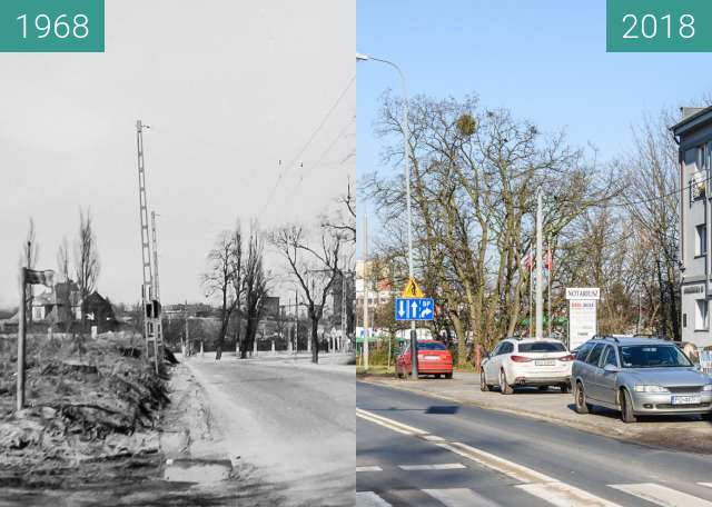 Before-and-after picture of Ulica Naramowicka between 1968 and 2018
