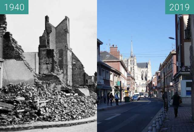 Before-and-after picture of Rue des Chaudronniers between 1940 and 2019-May-13