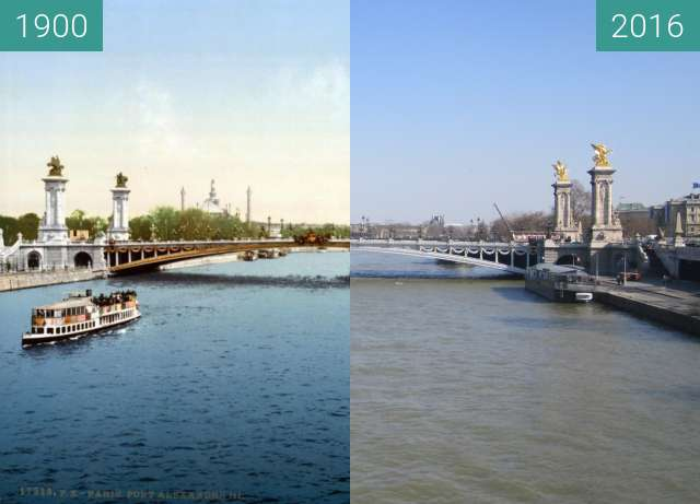 Before-and-after picture of Pont Alexandre III between 1900 and 2016-Feb-29