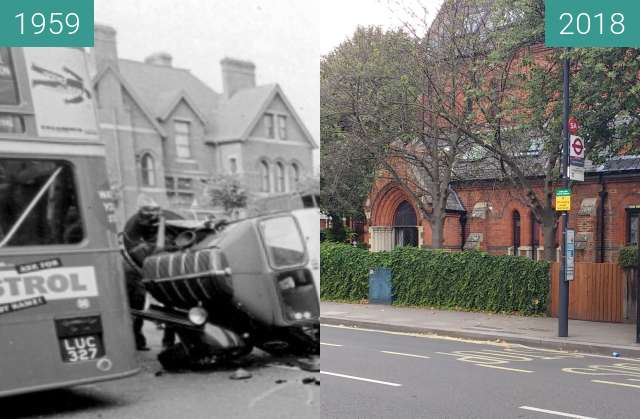 Before-and-after picture of Stamford brook between 1959 and 2018-Aug-24
