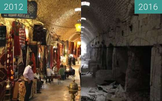 Before-and-after picture of Alepo (Siria) between 2012 and 2016