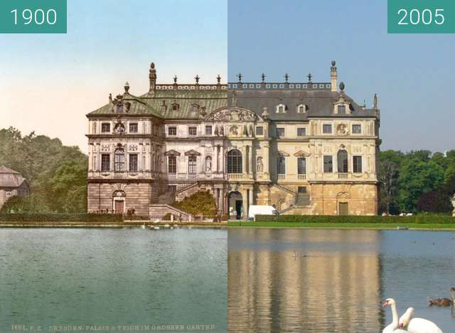Before-and-after picture of Palais im Großen Garten Dresden between 1900 and 2005-Sep-05