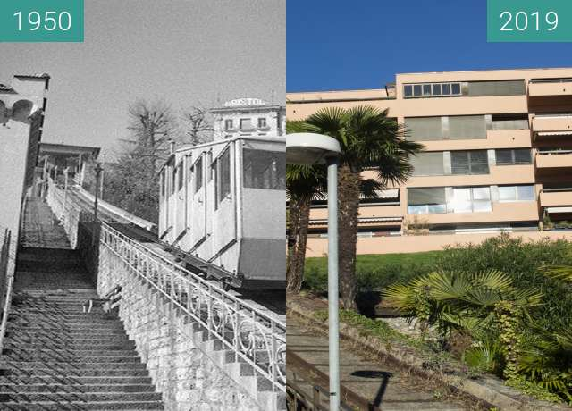 Before-and-after picture of Funicolare degli Angioli between 1950 and 03/2019