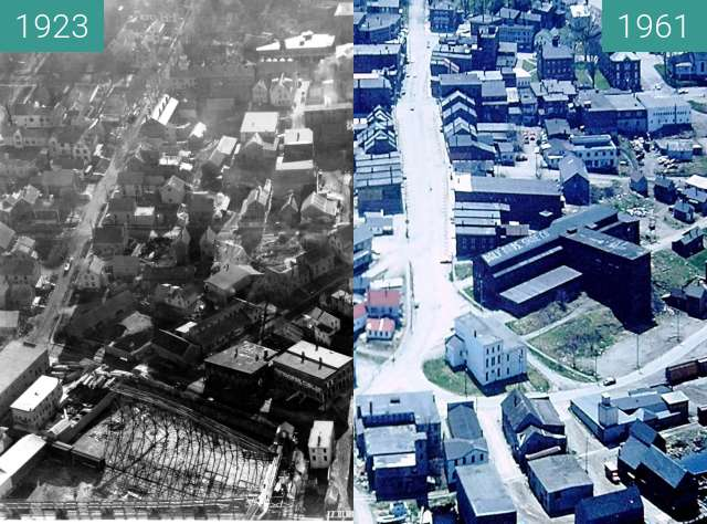 Before-and-after picture of Aerial Views of Belfast, Maine Downtown between 1923 and 05/1961