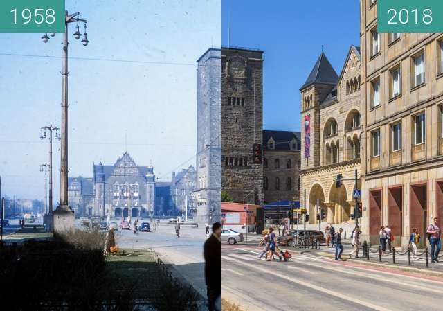 Before-and-after picture of Ulica Św. Marcin between 1958 and 2018