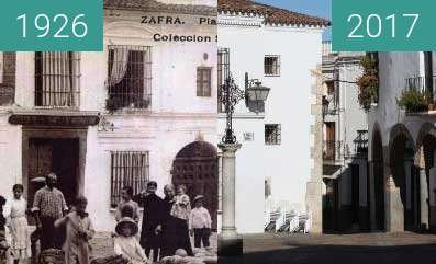 Before-and-after picture of Plaza Chica de Zafra between 1926 and 2017