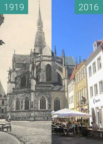 Before-and-after picture of St. Mary's Church between 1919 and 2016-Aug-31