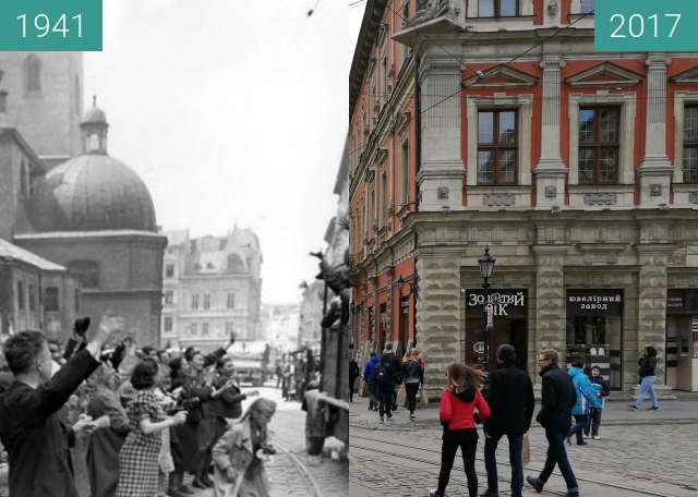 Before-and-after picture of Locals welcome the German soliders during WW2 between 1941 and 2017-Apr-23
