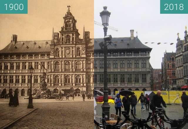 Before-and-after picture of Stadhuis between 1900 and 2018-Apr-02