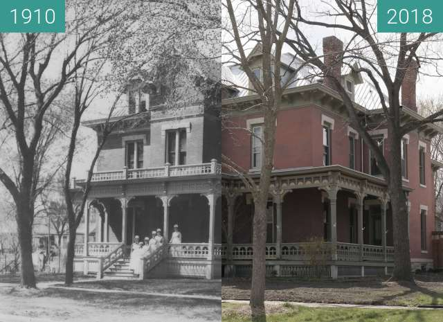 Before-and-after picture of Simmons Hospital between 1910-Apr-07 and 2018-Apr-17