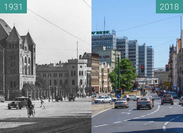 Before-and-after picture of Ulica Św. Marcin between 1931 and 2018