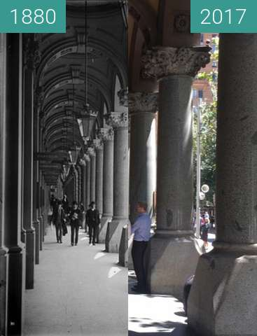 Before-and-after picture of Sydney GPO Colonnade between 1880 and 2017