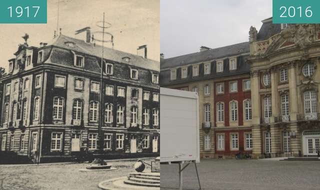 Before-and-after picture of Schloss Münster between 1917 and 2016-Sep-02