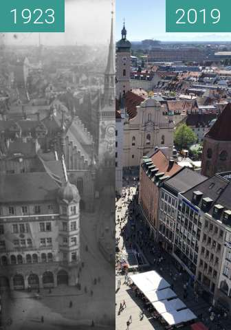 Before-and-after picture of Blick vom neuen zum alten Rathaus between 1923 and 2019-Sep-04