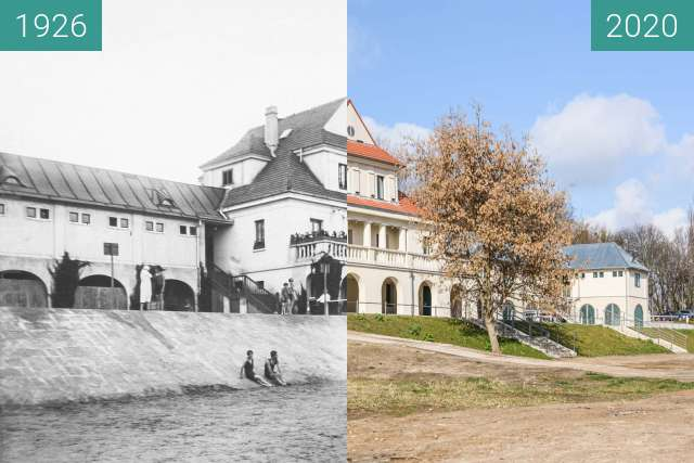Before-and-after picture of Ulica Piastowska, łazienki rzeczne between 1926 and 2020-Mar-04