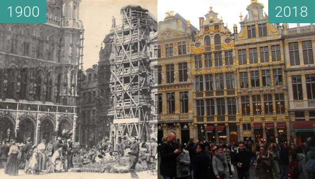 Before-and-after picture of Grand-Place/Grote Markt between 1900 and 2018-Mar-31