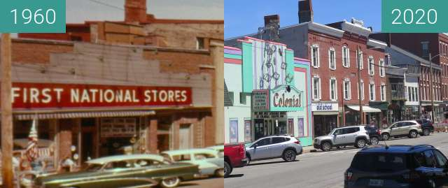 Before-and-after picture of Downtown Belfast, Maine; High Street between 1960 and 2020-Jul-16