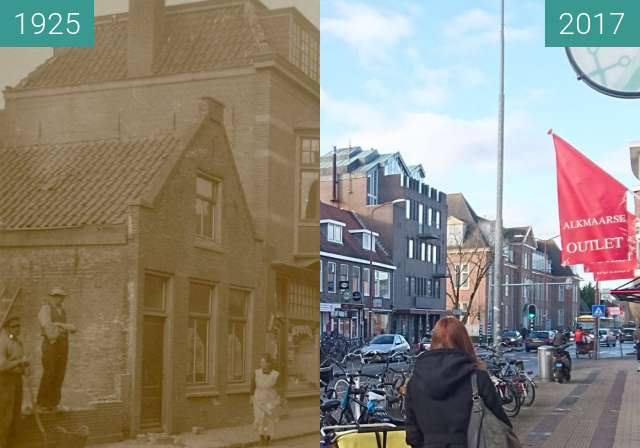 Before-and-after picture of Alkmaar, Scharloo between 1925 and 2017
