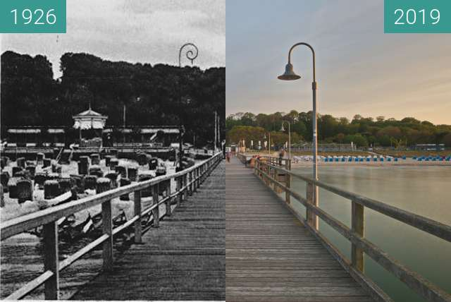 Before-and-after picture of Goehren Seebrücke between 1926 and 2019-May-23