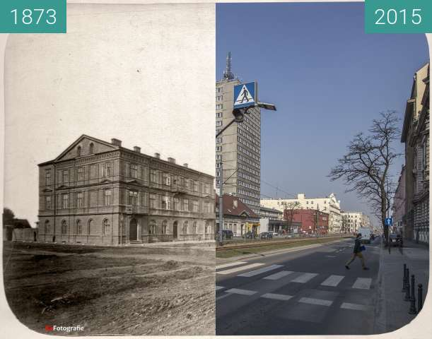 Before-and-after picture of Milsch House, Spacerowa Street between 1873 and 2015