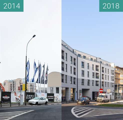 Before-and-after picture of Ulica Kościelna between 2014-Dec-10 and 2018-Jan-23
