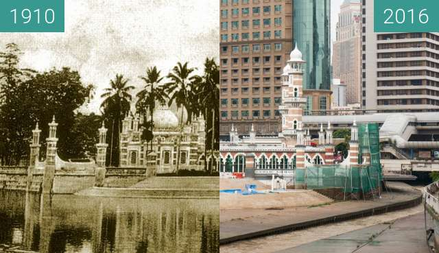 Before-and-after picture of Jamek Mosque between 1910 and 2016-Jul-22