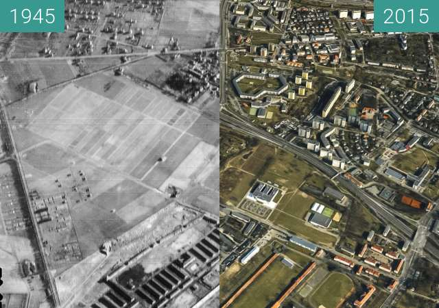 Before-and-after picture of Poznań, Winiary between 1945-Apr-21 and 2015-Apr-21