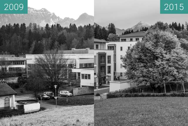 "Before-and-after picture of Zeit im Bild | 47°34'32"" N 10°41'57"" E