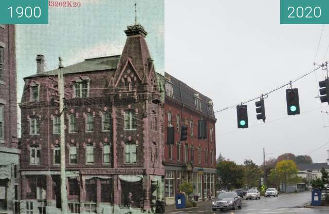 Before-and-after picture of Masonic Building and Windsor Hotel Belfast, Maine between 1900 and 2020