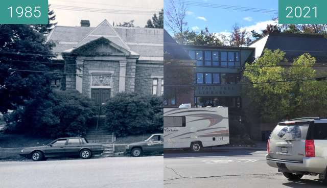 Before-and-after picture of The Two Abbot Rooms, Belfast Free Library between 1985 and 2021