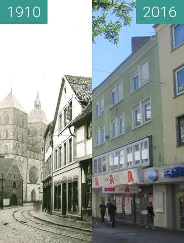Before-and-after picture of Johannisstraße between 1910 and 2016-Jul-18