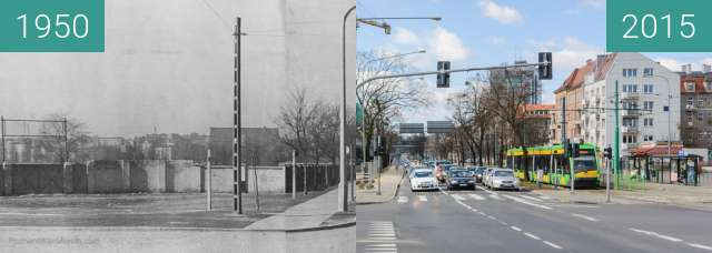 Before-and-after picture of Poznań, ulica Królowej Jadwigi  between 1950 and 2015-Aug-12