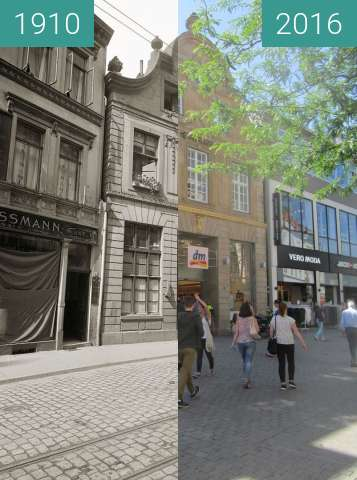 Before-and-after picture of Große Straße no. 62 between 1910 and 2016-Jul-18